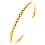 Bracelet Jonc message - le bonheur cest nous - acier inoxydable OR - Ikita Paris
