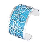 Manchette bracelet Interchangeable - PAPILLONS - Acier Inoxydable - Ajustable - Large - 40 mm + 1 CUIR RÉVERSIBLE - 26 coloris - Finition Argent - blau blanc