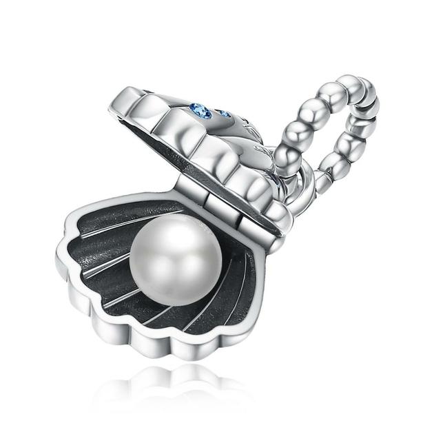Charm Pendentif Coquille saint jacques et sa perle d'eau douce – argent sterling 925 – compatible pandora - Bleu