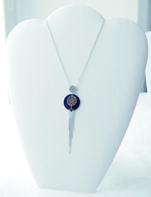 Collier long bohème chic - ÉTOILE ATTRAPE-RÊVE - Design - Acier Inoxydable argent et bleu - 75 + 5 cm - Ikita Paris