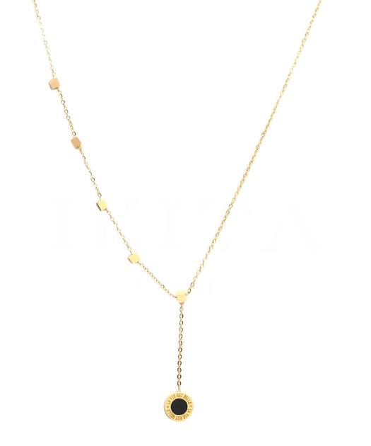 Collier or avec mini-cubes et rond noir +gravure la vie est belle-min