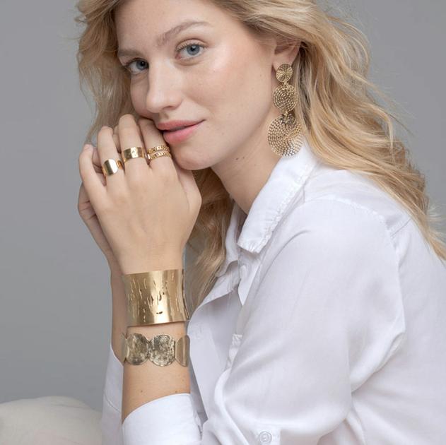 bracelet manchette acier brossé 50 mm or-min