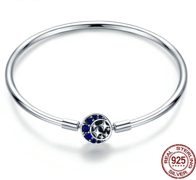 91d9fc35e95 bracelet jonc pour charms lune etoiles nuit etoilée argent strass zircon  cubique bracelet femme personnalisable pandora