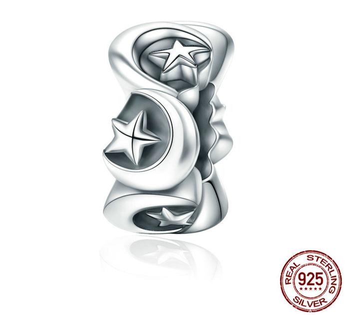 d071e756040 Espaceur PAYS DES RÊVES - Argent Sterling 925 - Motif Etoile   Lune -  separateur charms