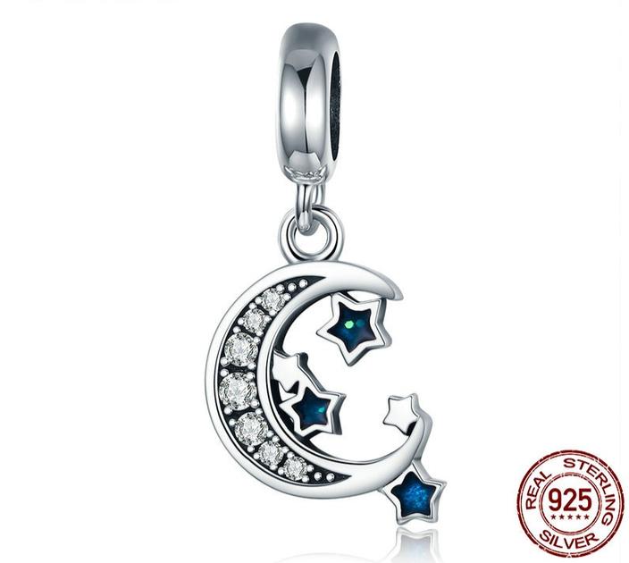 fdb84808859 Charm Pendentif CLAIR de LUNE - Argent S925 - Zircon Cubique - Pour  bracelet Pandora -