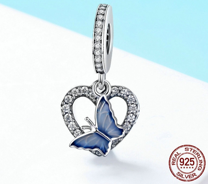 clip pandora argent bleu