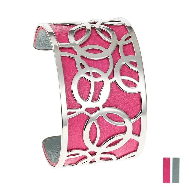 Manchette Bracelet Interchangeable - BULLE - Acier Inoxydable - ajustable - 40 mm + 1 CUIR RÉVERSIBLE OFFERT - fushia