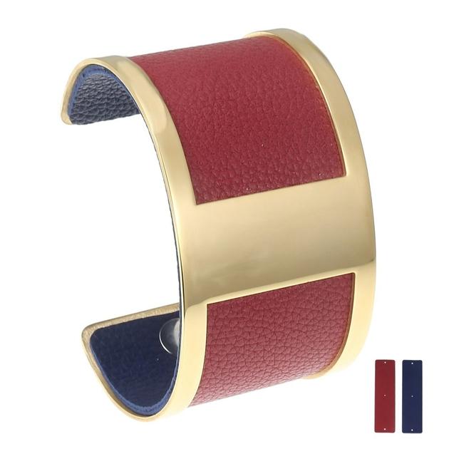 la meilleure attitude 61bb9 733eb Manchette bracelet Interchangeable - ESPRIT - Acier Inoxydable - Ajustable  - Large - 40 mm + 1 CUIR RÉVERSIBLE - 20 coloris - Finition Or