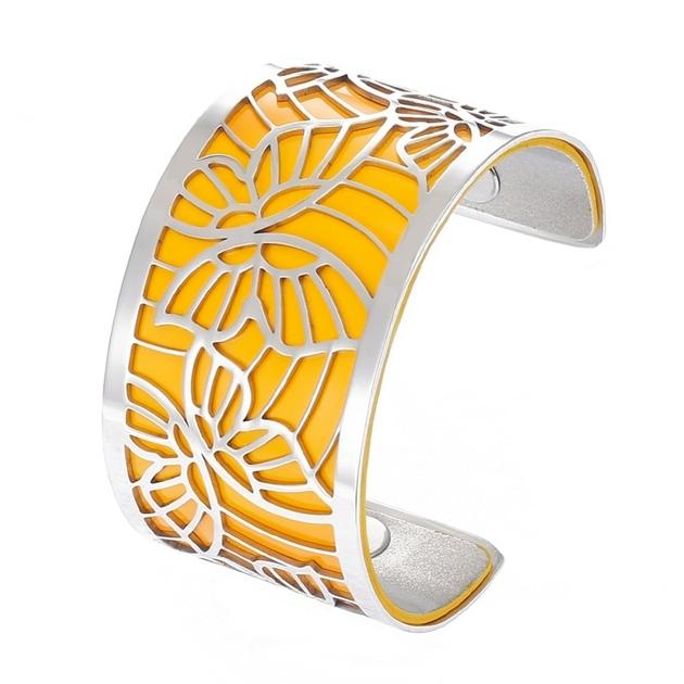 Manchette bracelet Interchangeable - PAPILLONS - Acier Inoxydable - Ajustable - Large - 40 mm + 1 CUIR RÉVERSIBLE - 26 coloris - Finition Argent - jaune argent paillette