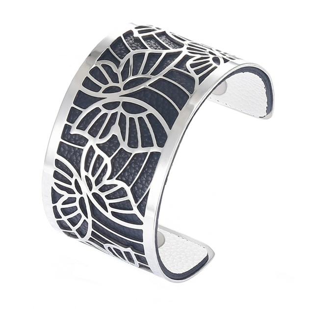 Manchette bracelet Interchangeable - PAPILLONS - Acier Inoxydable - Ajustable - Large - 40 mm + 1 CUIR RÉVERSIBLE - 26 coloris - Finition Argent - noir et blanc
