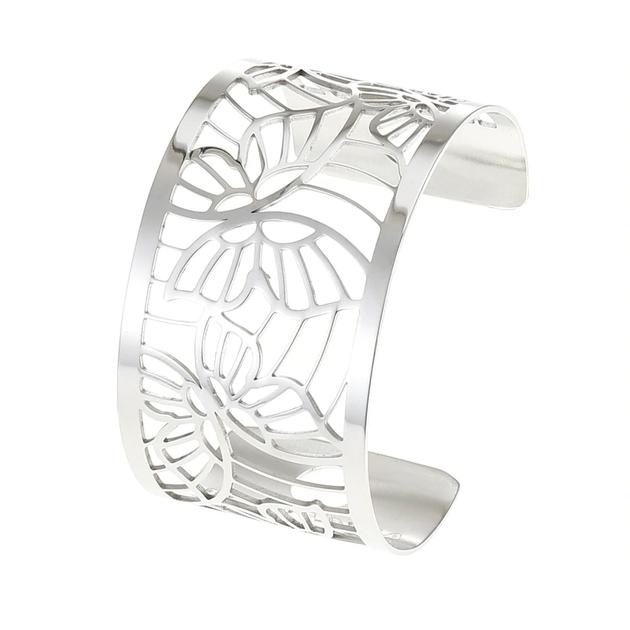 Manchette bracelet Interchangeable - PAPILLONS - Acier Inoxydable - Ajustable - Large - 40 mm + 1 CUIR RÉVERS-min