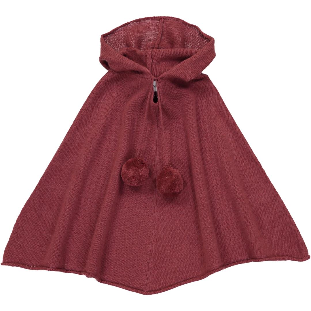 Poncho Fille à Capuche - Rose Vin