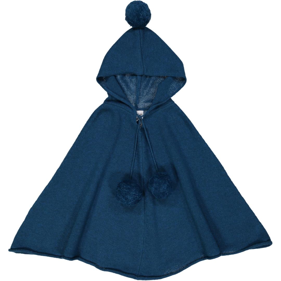 Poncho Fille à Capuche - Bleu Pétrole