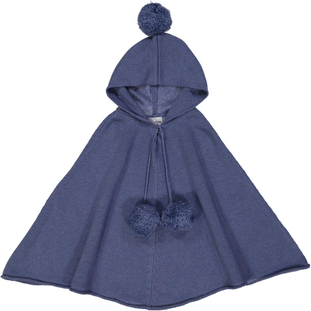 Poncho Fille à Capuche - Bleu Jean