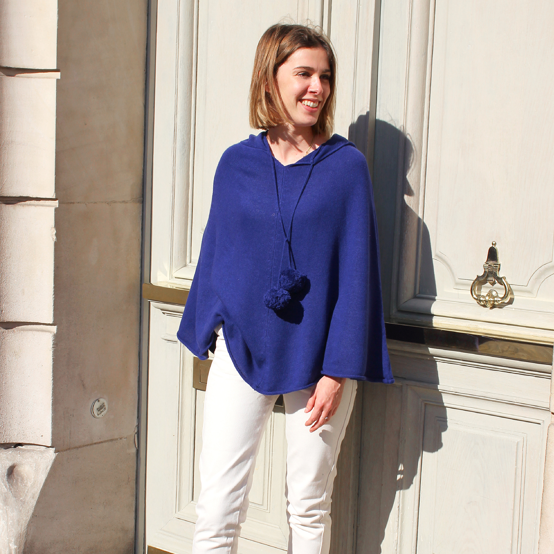 Poncho Femme à Capuche - Bleu France