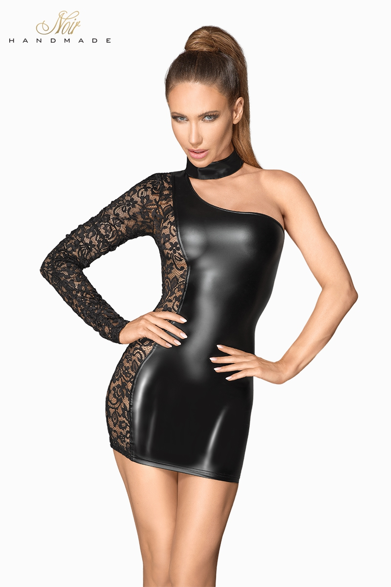 Mini robe asymétrique en dentelle chaude à l\'aspect mouillé