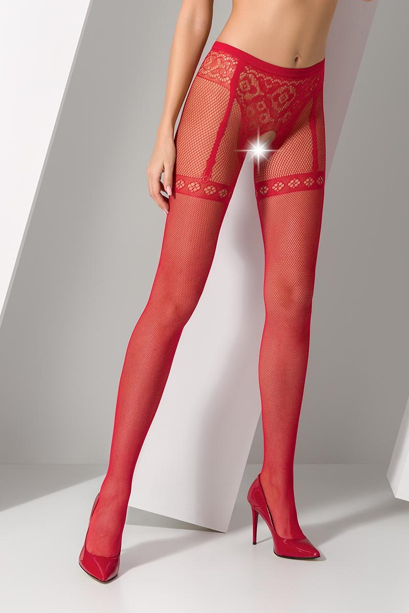 Collants ouverts en résille rouge avec un motif élégant de culotte et jarretelles.