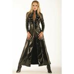 Manteau ultra long en vinyle noir brillant