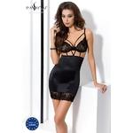 Ensemble Robe lingerie avec bustier soutien-gorge Haya - Noir