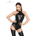 Body en faux cuir laqué et wetlook aux découpes anatomiques sensuelles