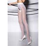 Collants ouverts en voile blanc avec un imprimé qui simule une culotte échancrée