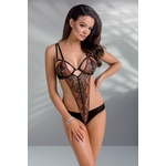Body lingerie noir Body lingerie noir Mirella avec un magnifique empiècement de dentelle brodée rouge sombre sur le devant