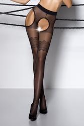 Collants ouverts sur l'intimité et les hanches en voile noir, avec un large motif fantaisie sur les cuisses vu de face