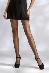 Collants résille en losange TI016 - noir en face jambes ouvertes