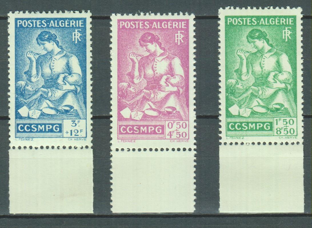 Algérie - Catroux - 3 valeurs neuves ** de 1944 - Cote €3