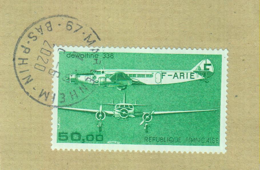 France - Aviation - yt.A60 oblitéré sur fragment - Cote €6