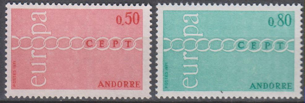 Andorre - Europa - yt.212/13 neufs ** de 1971 - Cote €50