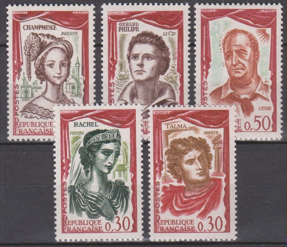 France - Comédiens - yt.1301/05 neufs ** de 1961 - Cote €7