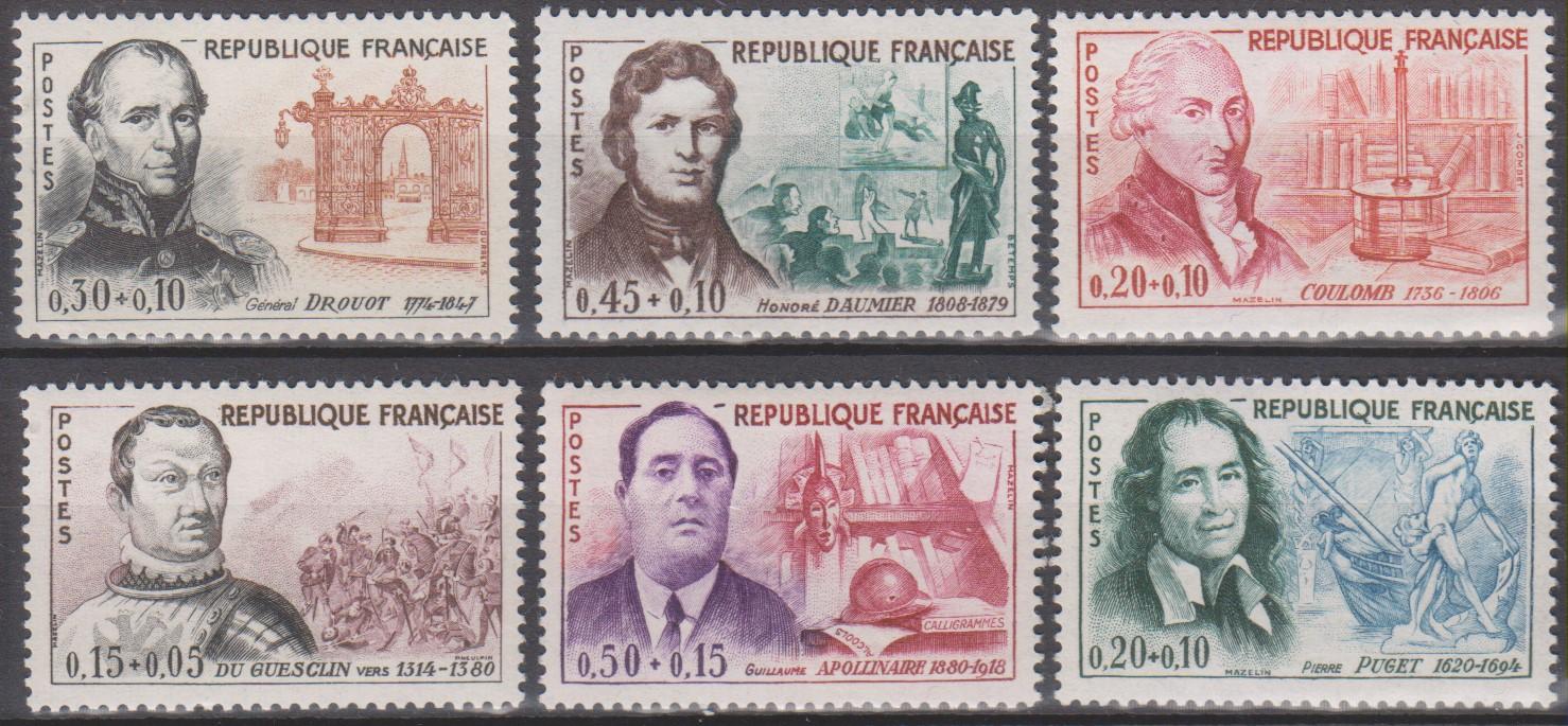 France - Célébrités - yt.1295/00 neufs ** de 1961 - Cote €19