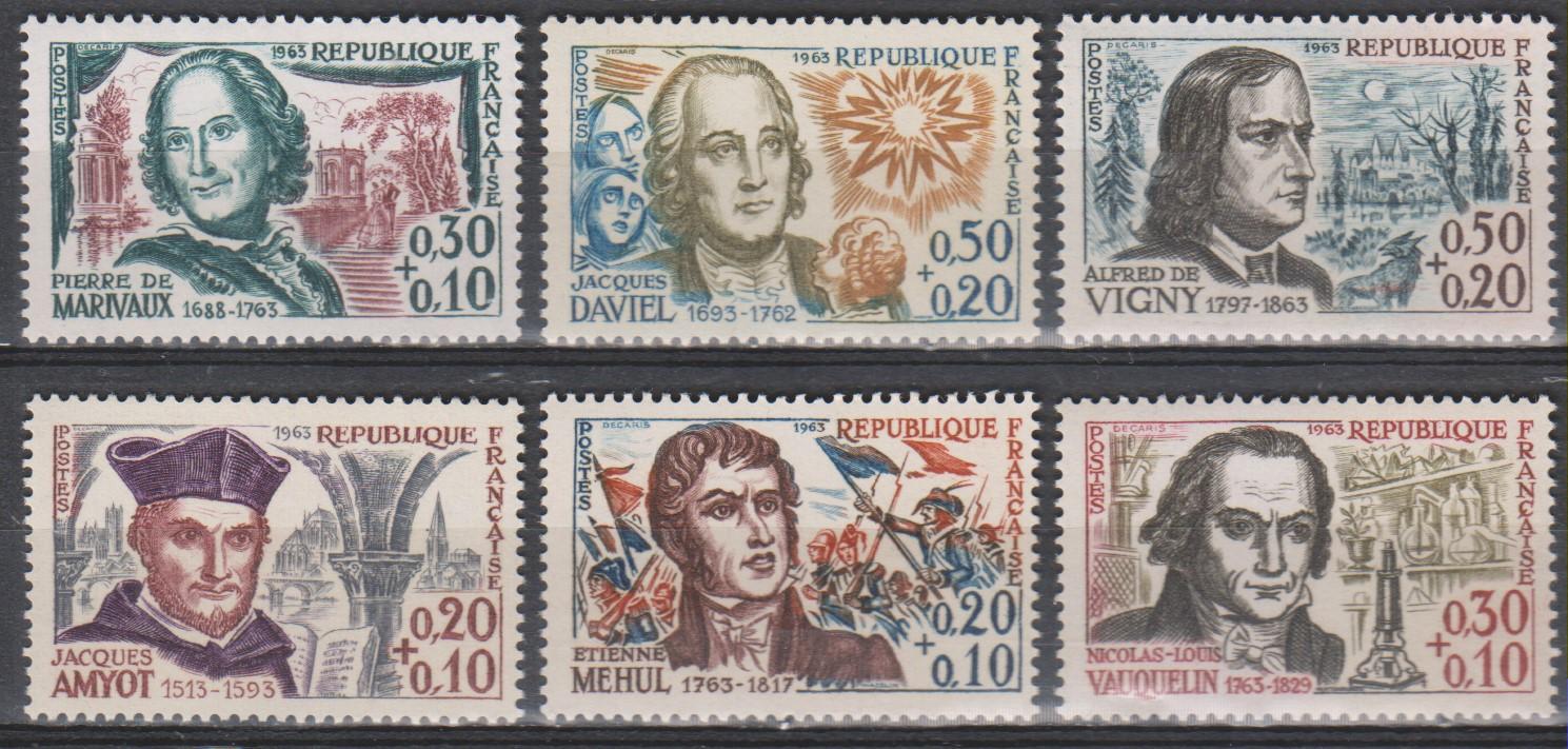 France - Célébrités - yt.1370/75 neufs ** de 1963 - Cote €9
