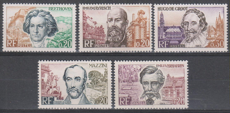 France - Célébrités - yt.1382/86 neufs ** de 1963 - cote €2.50