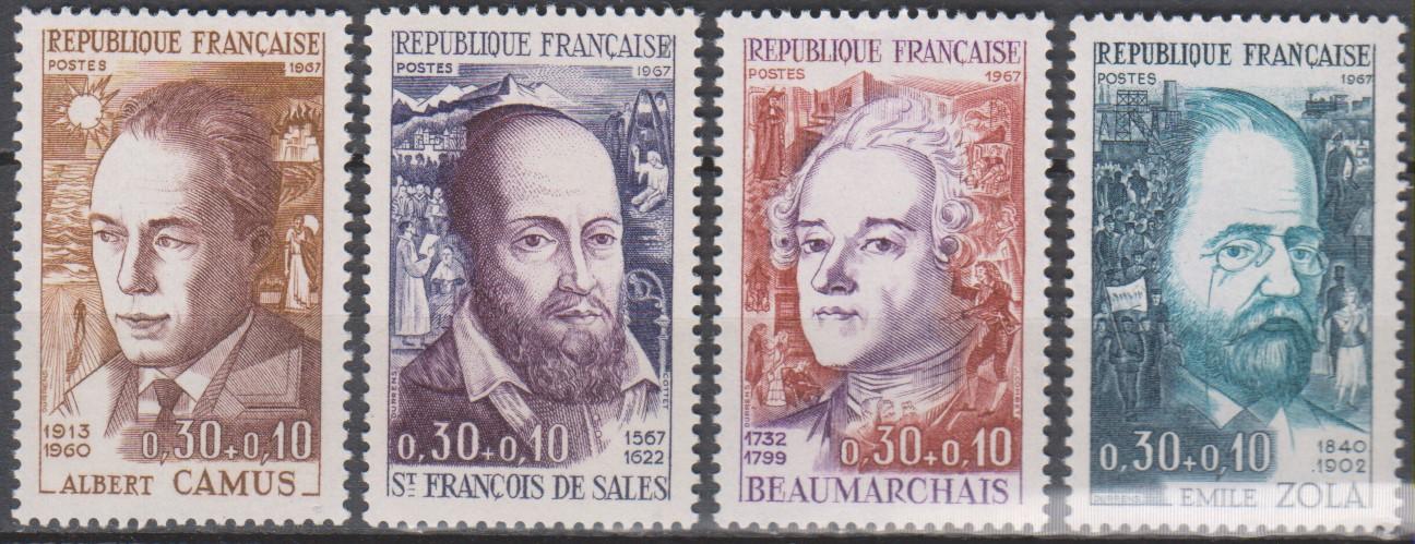 France - Célébrités - yt.1511/14 neufs ** de 1967 - Cote €2