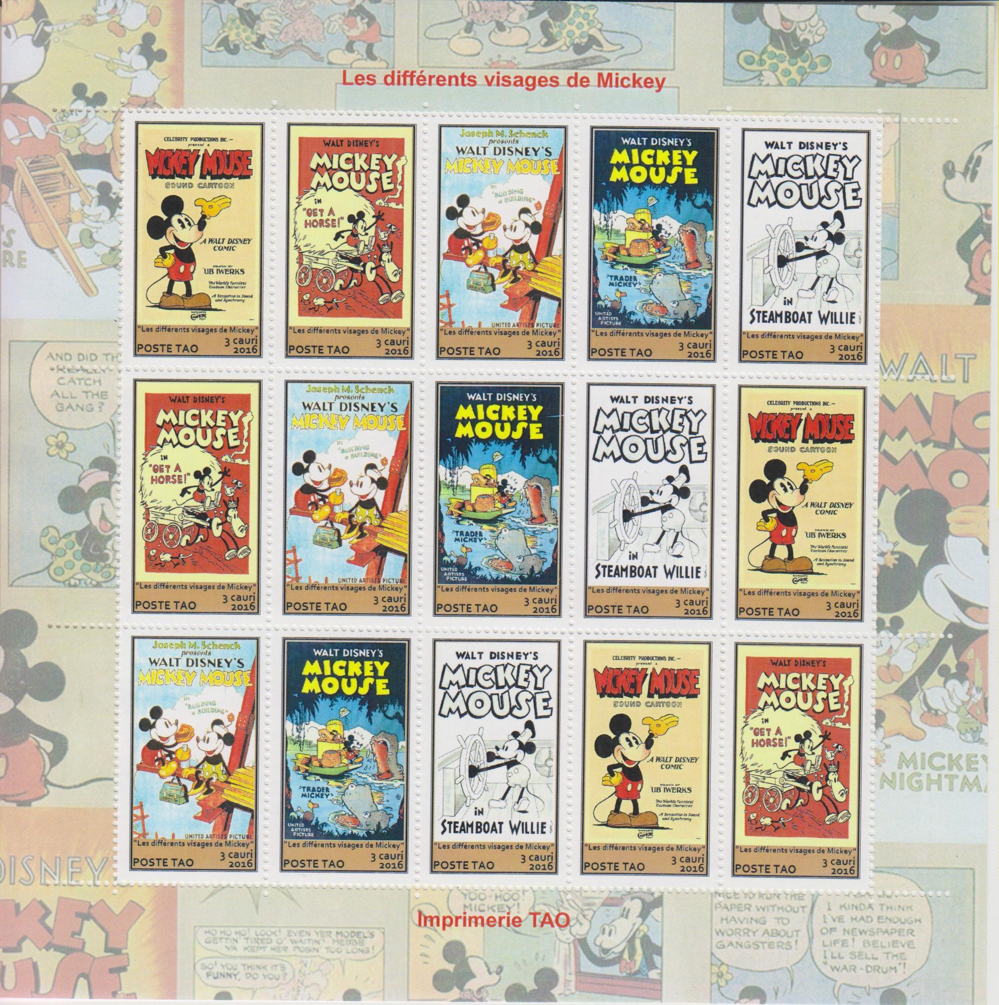 90 ans de Mickey - Feuillet illustré de 3 séries - Territoire Autonome d\'Océanie