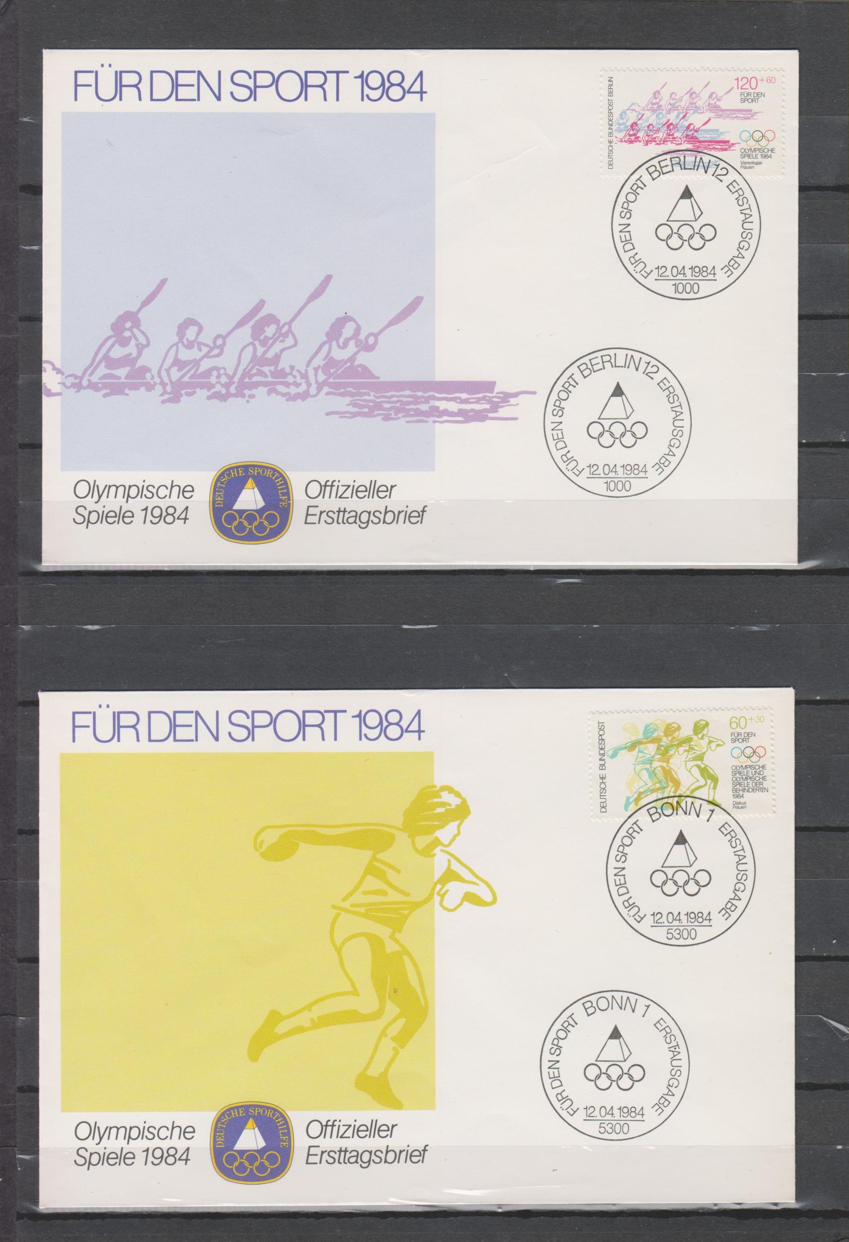 Allemagne - Collection d\'enveloppe FDC J.O. de 1984 (2 photos) - Cote €15