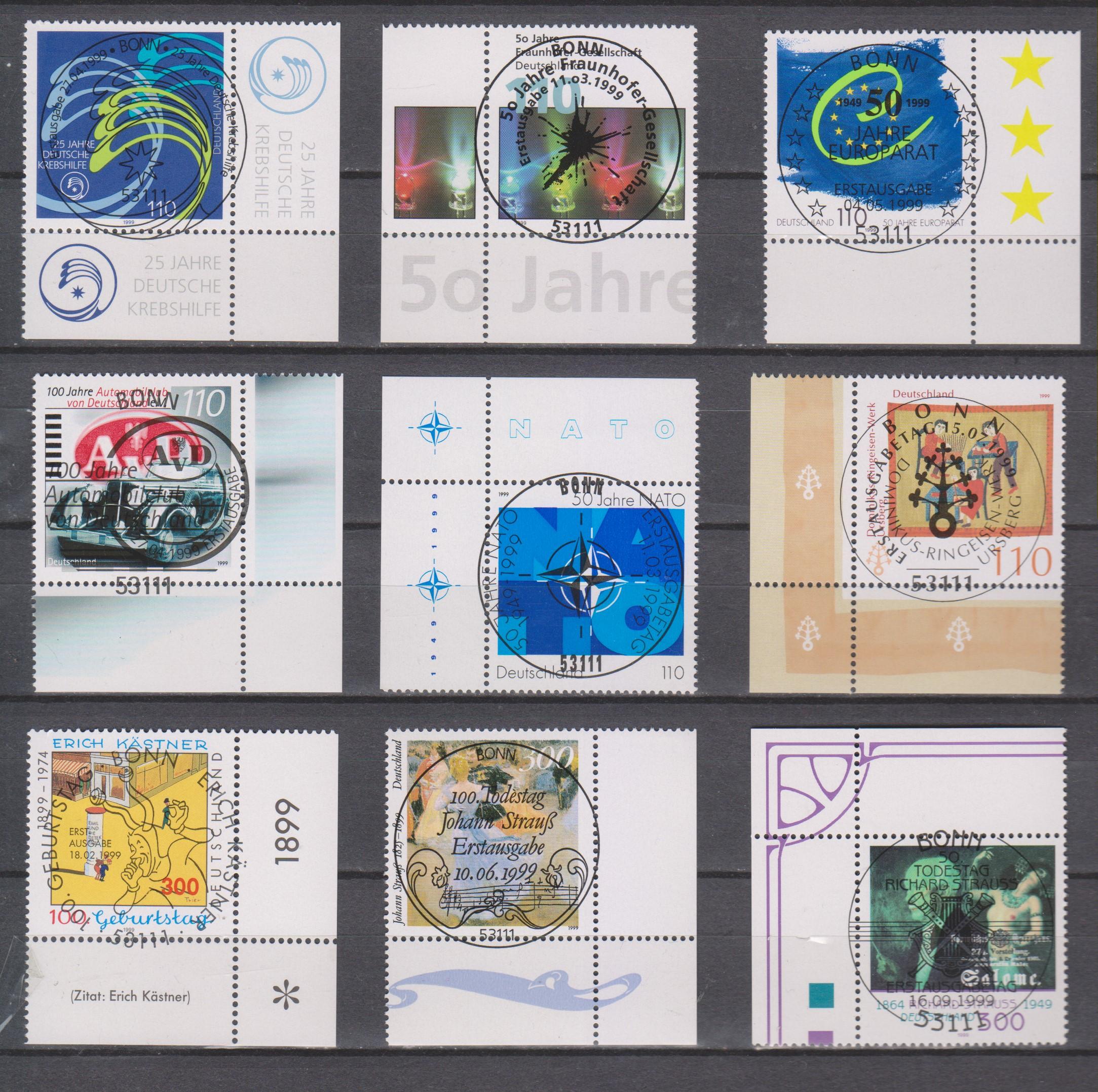 Allemagne - Sélection de timbres oblitérés FDC de 1999 - Cote €12.25