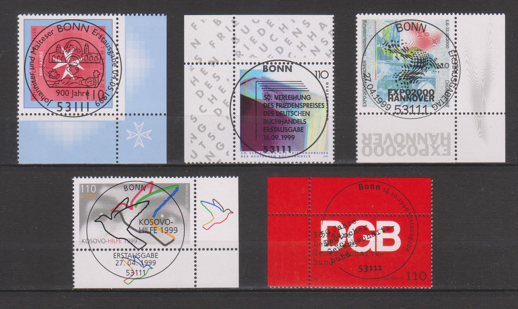Allemagne - Sélection de timbres oblitérés FDC de 1999 - Cote €6.55
