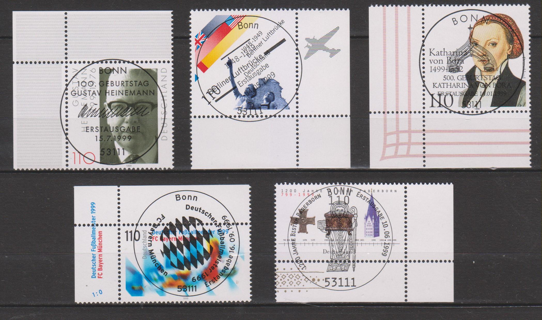 Allemagne - Sélection de timbres oblitérés FDC de 1999 - Cote €4.15