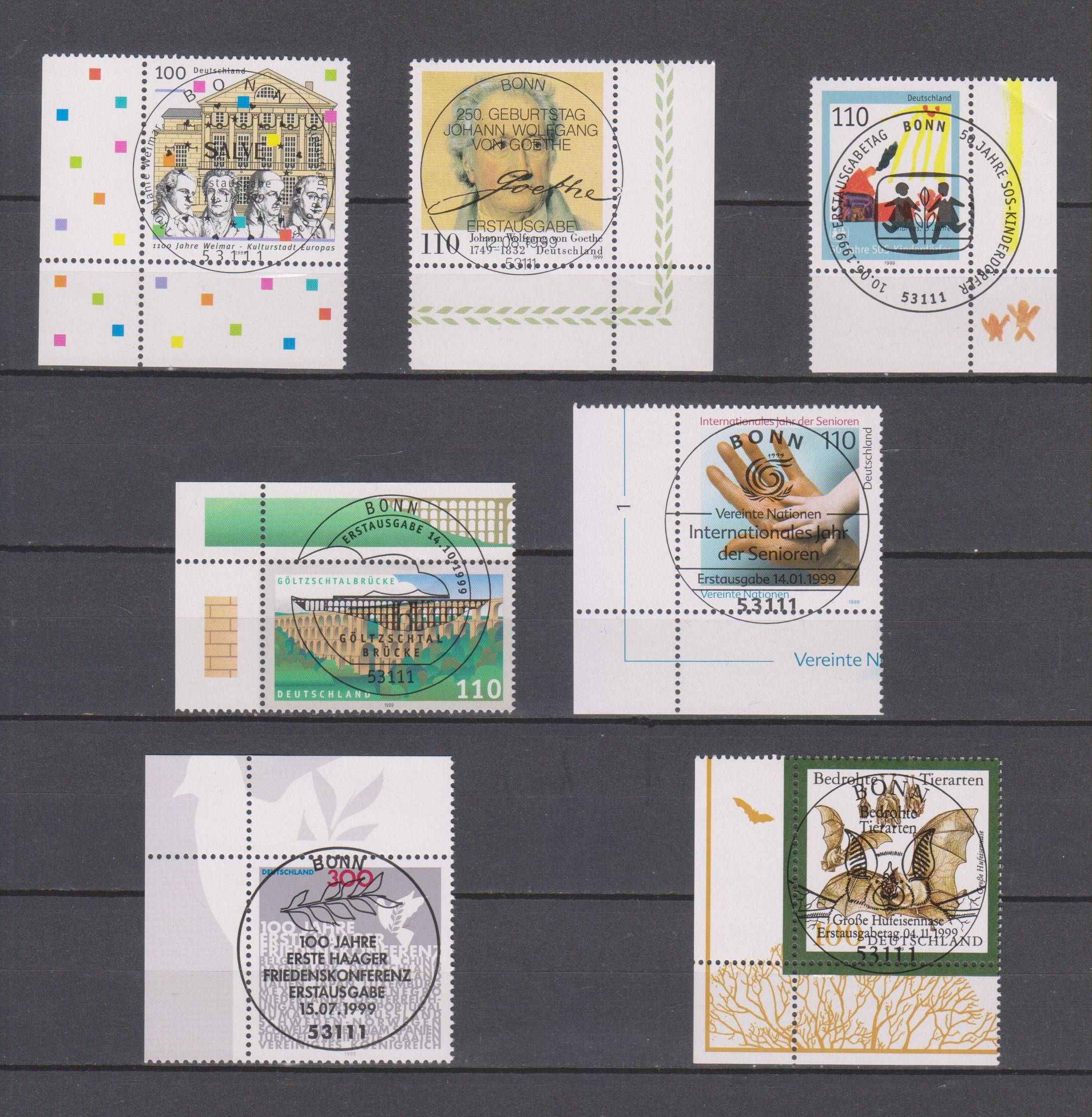 Allemagne - Sélection de timbres oblitérés FDC de 1999 - Cote €6.85