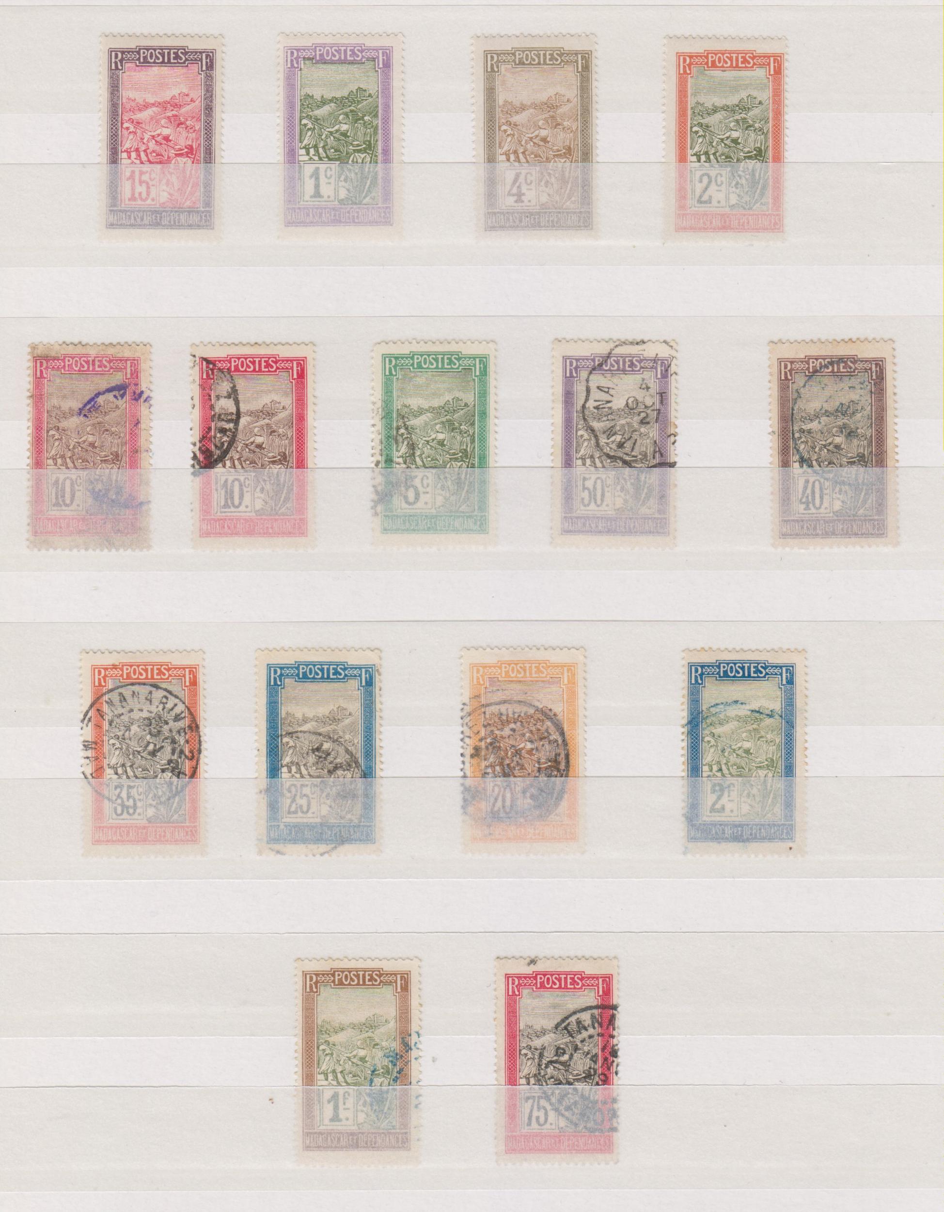 Madagascar - Série de 1908 neufs * et oblitérés - Cote €9,50