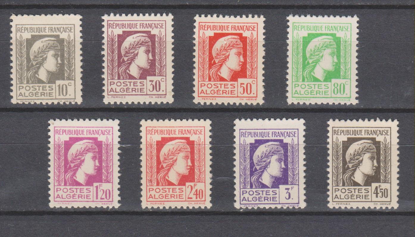 Algérie - 8 valeurs de la série courante de 1944 neuves ** - Cote €2.80
