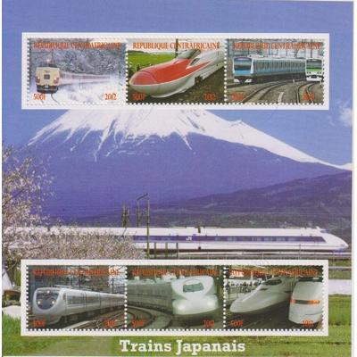 Centrafricaine - Trains - Feuillet de 2012