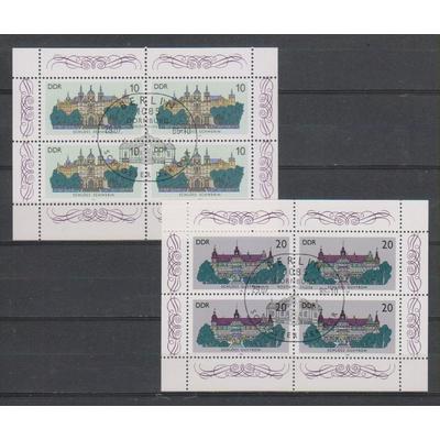 Allemagne orientale - Châteaux - Les deux feuillets de 4 oblitérés - Cote €3,50