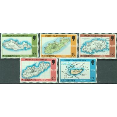 Alderney - Cartes - yt.37/41 neufs ** - Cote €8.50