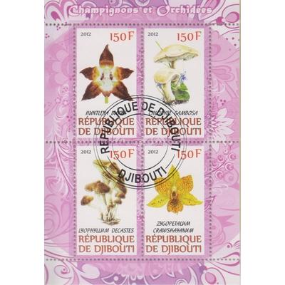Djibouti - Orchidées et champignons - Feuillet oblitéré de 2012
