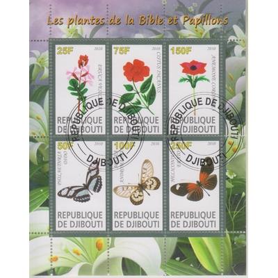 Djibouti - Papillons et fleurs - Feuillet de 2010