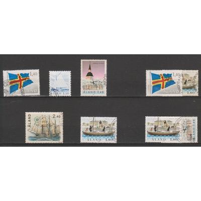 Aland - Sélection de timbres oblitérés + doublons - Cote €13